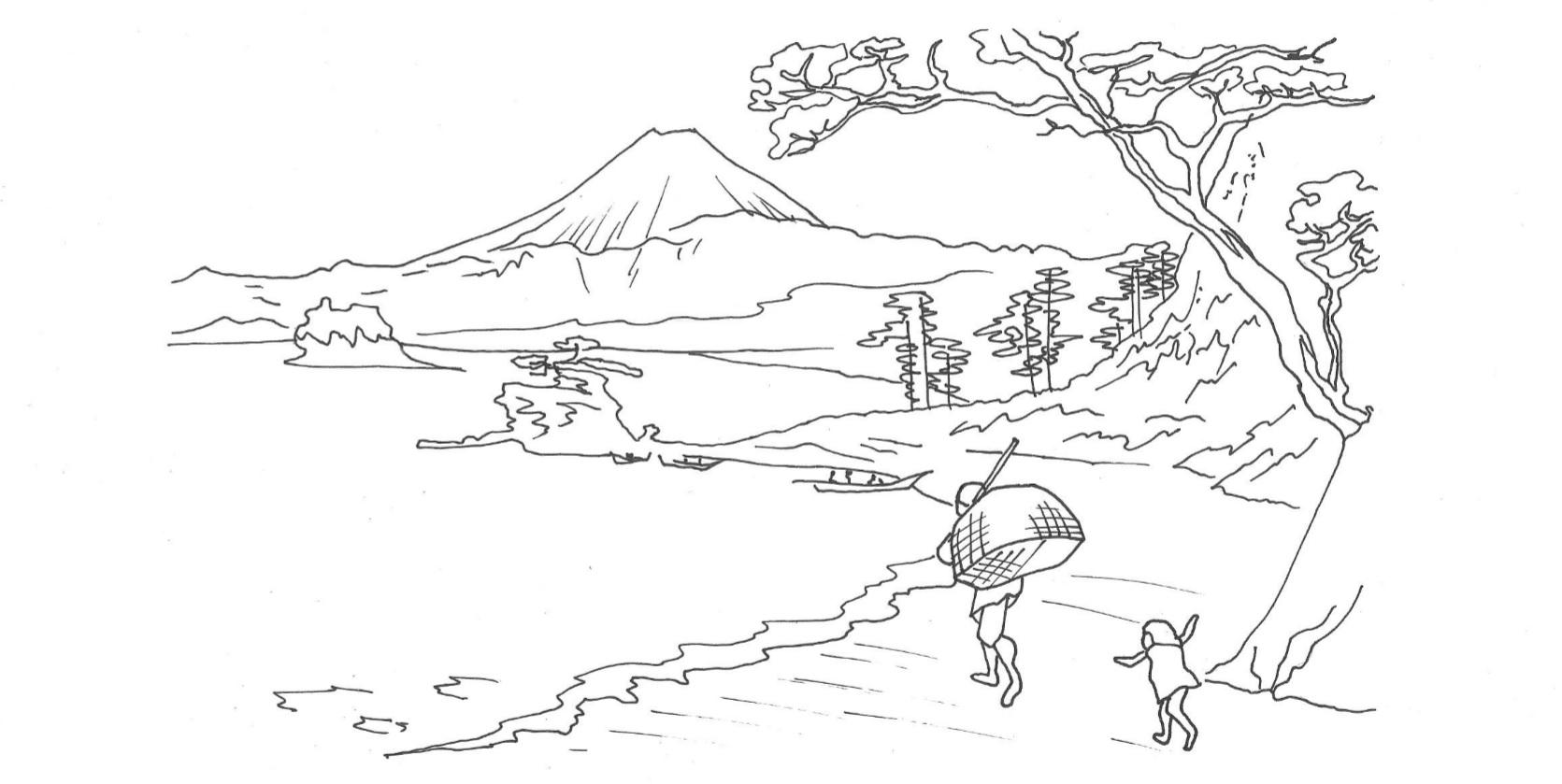 Rysunek czarno-biały. Krajobraz w stylu malarstwa japońskiego.