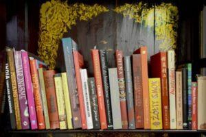 zdjęcie przedstawia książki ustawione na półce zabytkowej azjatyckiej biblioteczki.