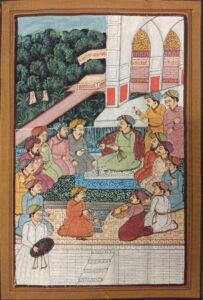obraz na jedwabiu - scena dworska, władca siedzi i radzi w otoczeniu mężczyzn.