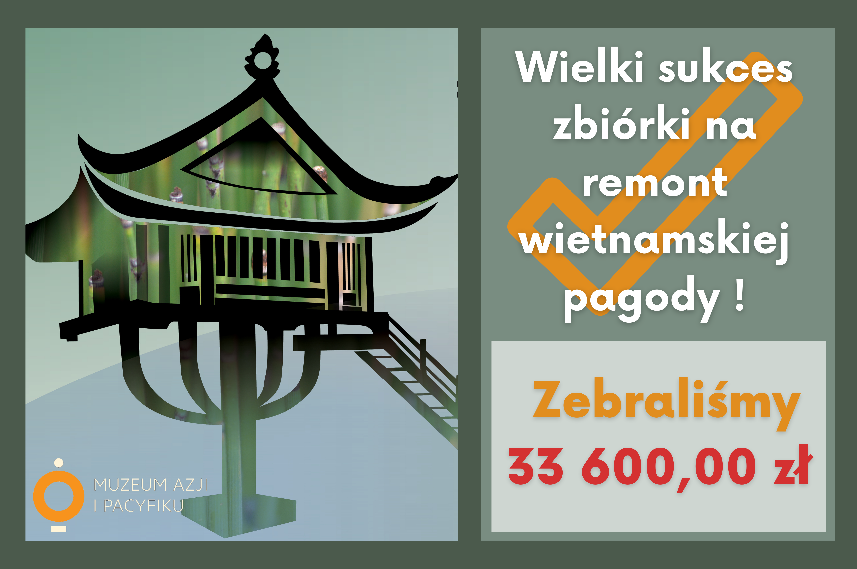 """grafika, po lewej pagoda, po prawej napis """"Zebraliśmy 33600 zł"""""""